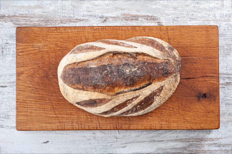 large white sourdough bread uncut