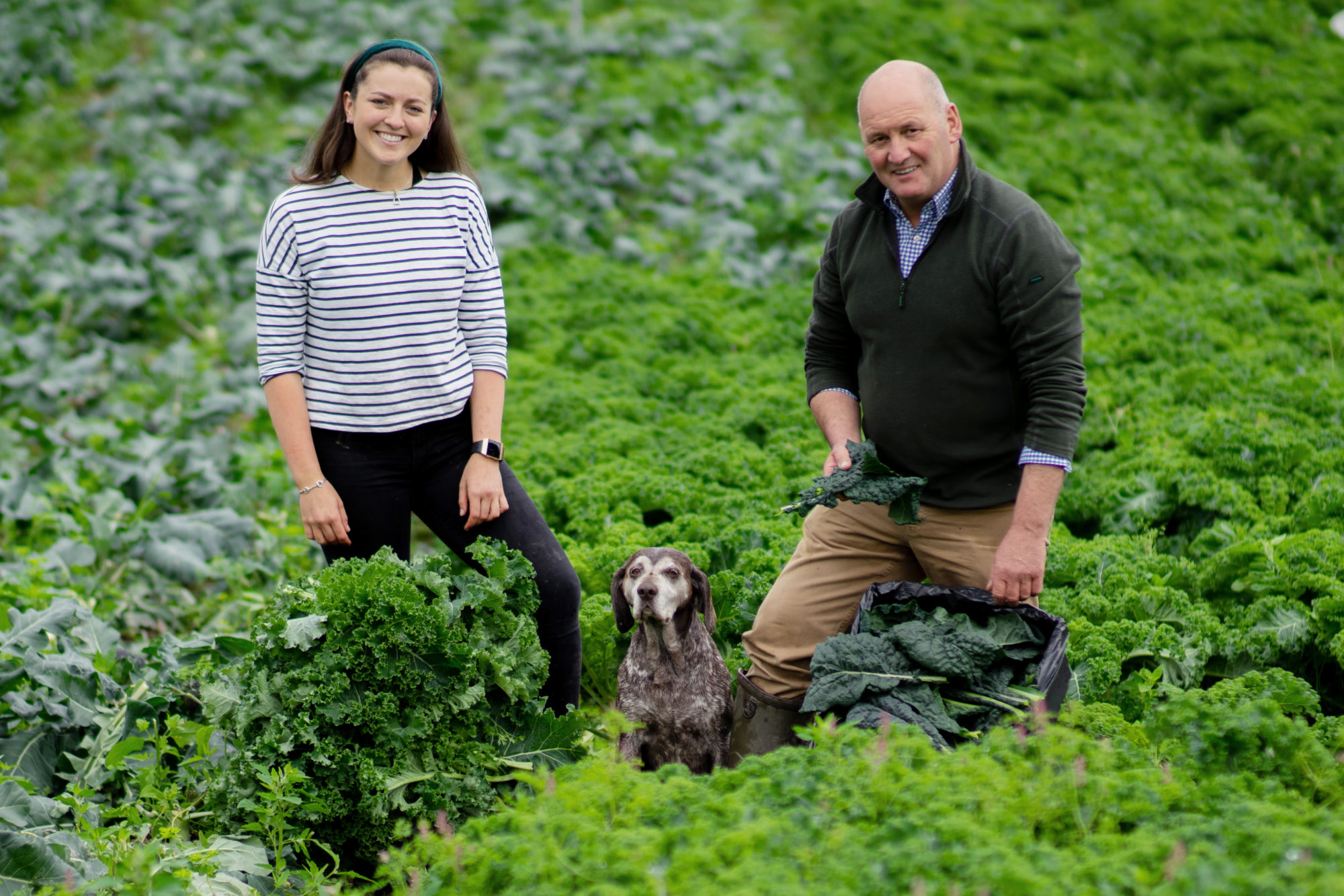 Emily, Dad and Flo in beetroot field